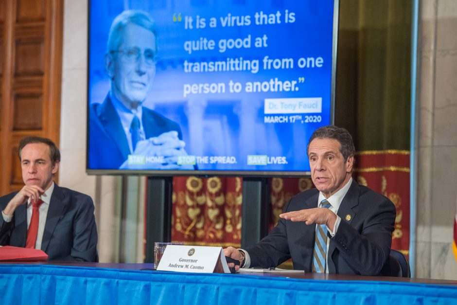 Governor Andrew Cuomo delivers his daily press briefing on COVID-19 at the Capitol on Thursday, April 17, 2020.
