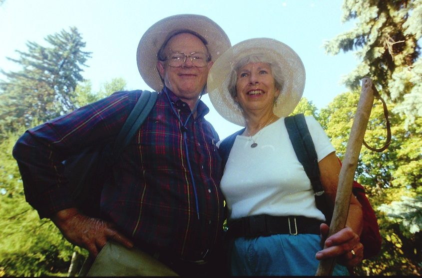 Clark and Millie Gittinger strike hikers' poses outside their home in Niskayuna during the fall of 1997.