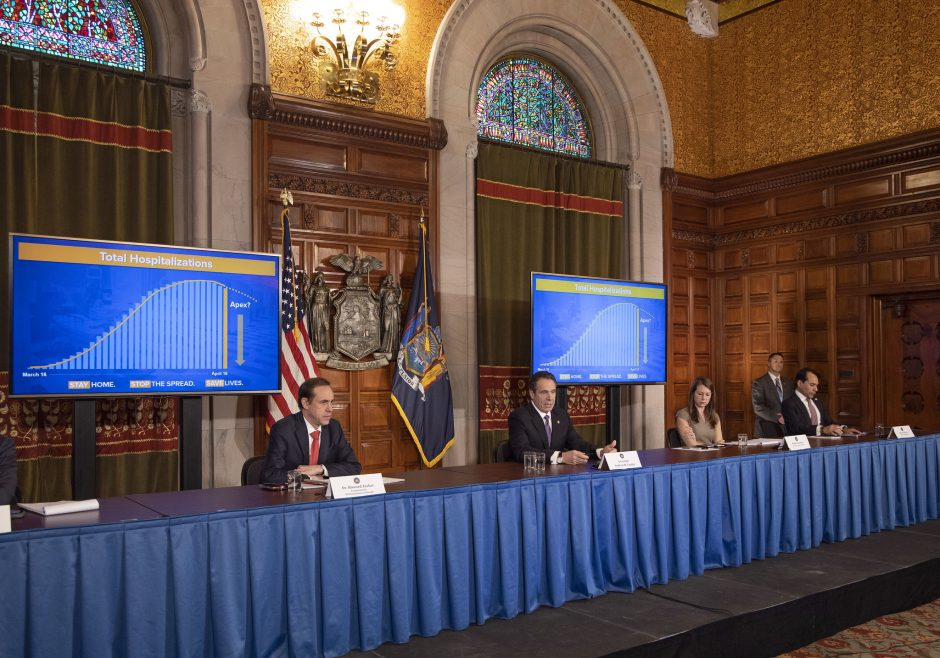 Governor Andrew M. Cuomo provides a coronavirus update during a press conference at the State Capitol on Friday, April 17, 2020.