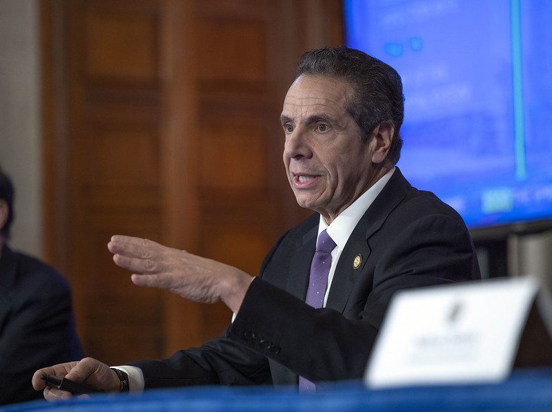 Governor Andrew M. Cuomo provides a coronavirus update during a press conference at the State Capitol Friday, April 18, 2020.