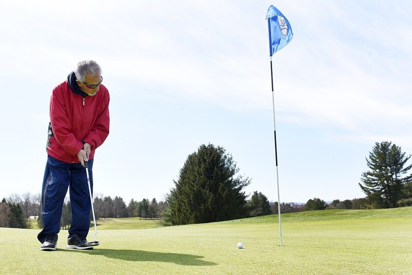 Jack Bower, 85 of Broadalbin, plays golf at the Amsterdam Municipal Golf Course on April 6.