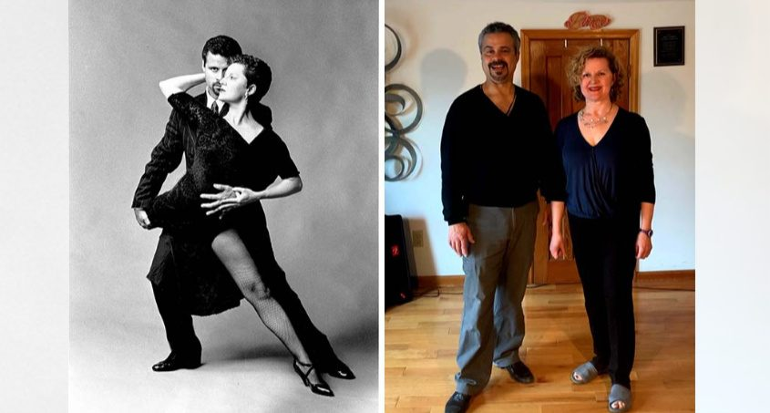 Diane Lachtrupp and her husband, Johnny Martinez, in Tango pose and at home.