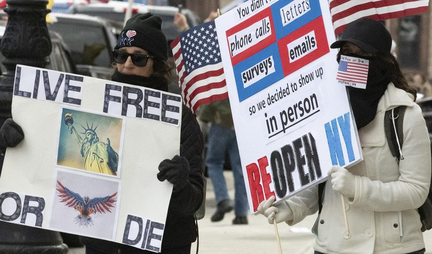 Protesters carry signs and wave flags in front of the State Capitol building in Albany Wednesday