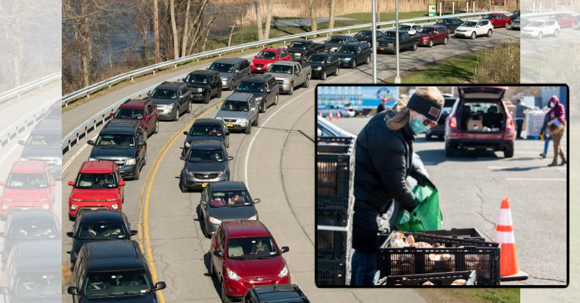 Background: Cars wait in line at the event; Inset: Volunteers fill vehicles