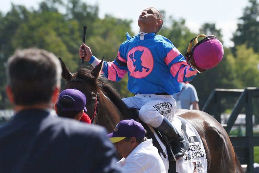 Jockey Javier Castellano looks skyward after winning the Ballerina on Come Dancing at Saratoga last summer.