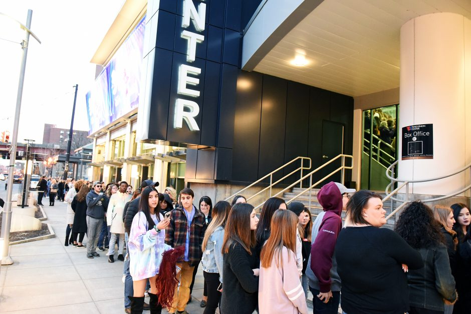 Ticket-holders line up to enter the Times Union Center for a concert last year.