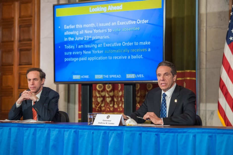 Governor Andrew Cuomo delivers his daily press briefing on COVID-19 on Friday, April 24.