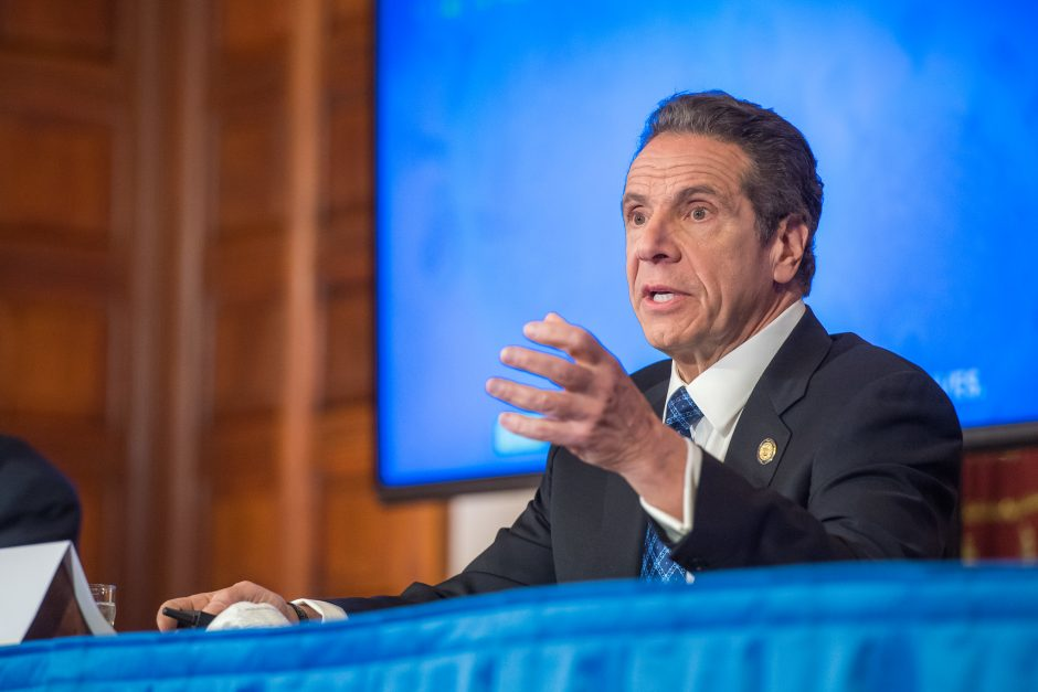 Gov. Andrew Cuomo briefs the media Wednesday at the state Capitol.
