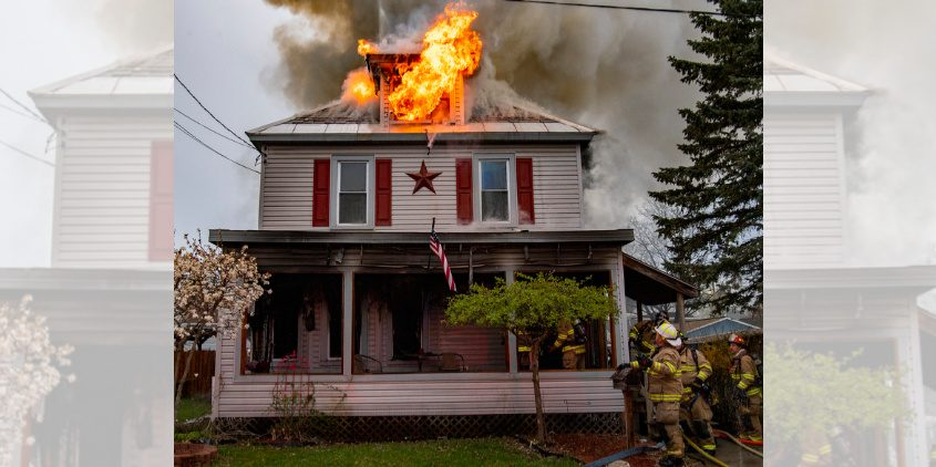Scotia firefighters at Sunday morning's fire on Bruce Street