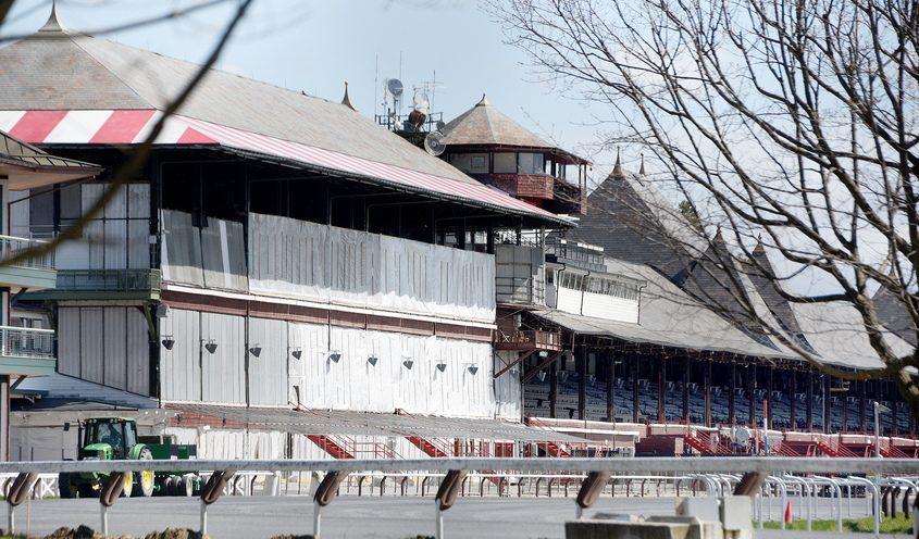 An empty Saratoga Race Course Tuesday