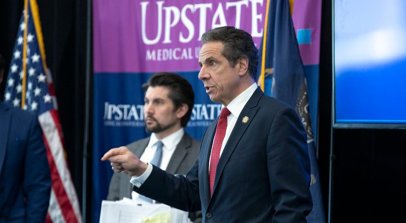 Gov. Andrew Cuomo speaks to the media Tuesday at SUNY Upstate Medical School in Syracuse.