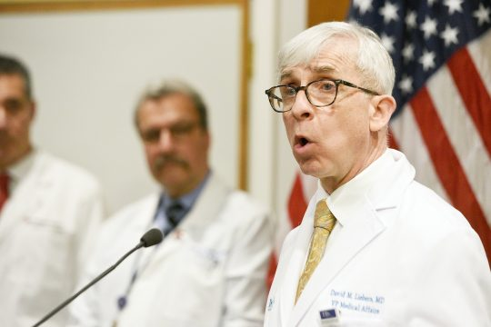 Ellis Medicine Chief Medical Officer Dr. David Liebers outlines coronavirus preparedness plans at Albany Med March 13.