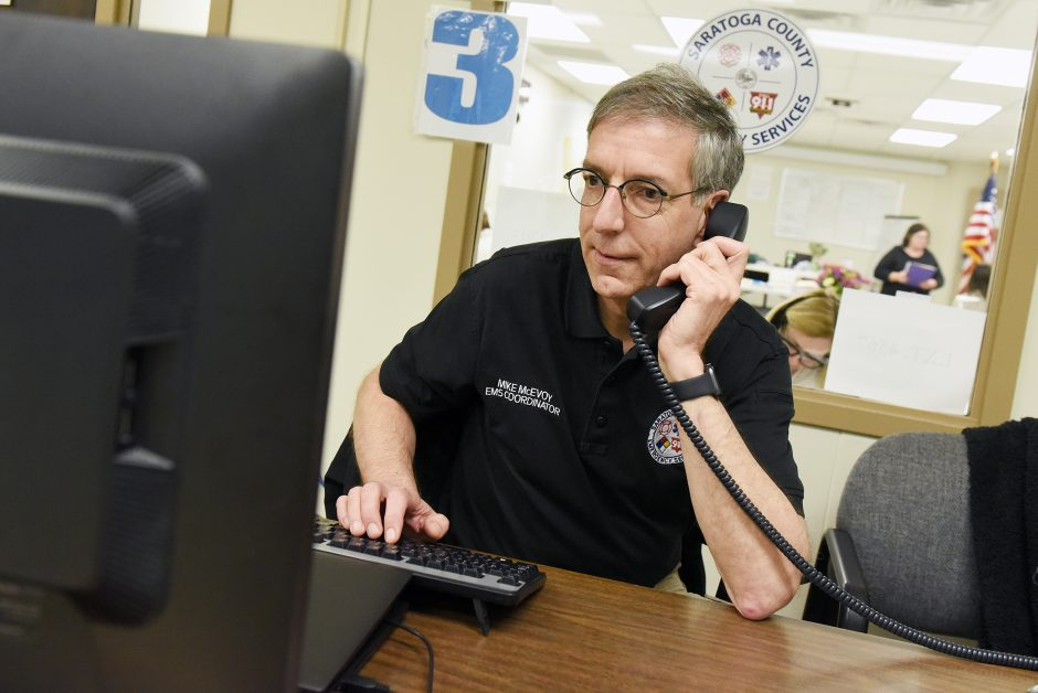 Saratoga County EMS coordinator Mike McEvoy works inside the county offices in Ballston Spa in early April.