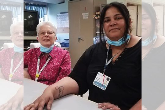 Barb Bradt, left, and Carmen Martinez at Baptist Health Nursing & Rehabilitation Center.