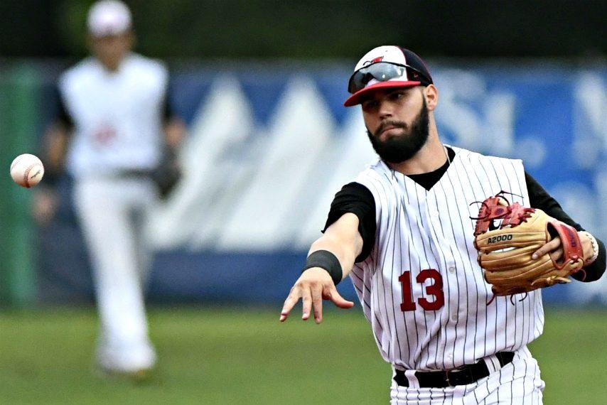 Amsterdam Mohawks infielder Landon Jordan throws to first base during Game 2 of the 2019 PGCBL Championship Series.