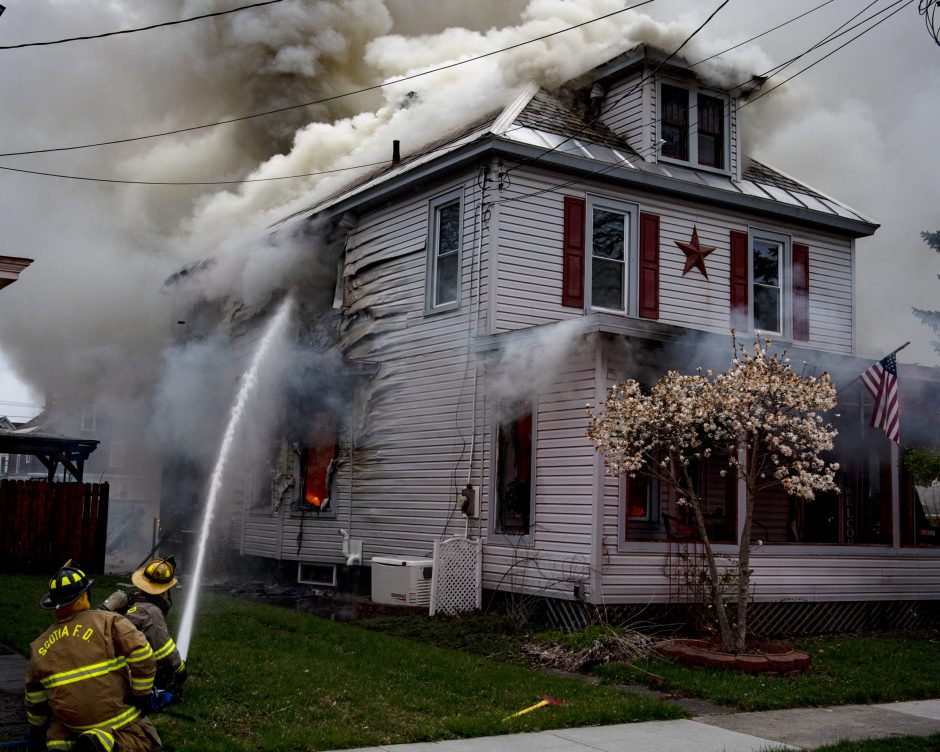 Scotia firefighters battle a 2 alarm house fire at 109 Bruce Street in the village of Scotia on Sunday, April 26, 2020.