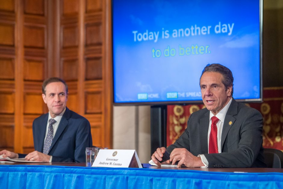 Governor Andrew Cuomo delivers his daily press briefing on COVID-19 on Thursday, April 30.