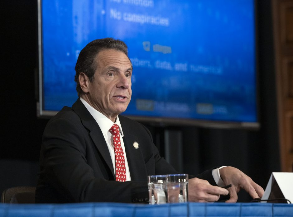 Governor Andrew Cuomo delivers his daily press briefing on COVID-19 on Wednesday, April 28.