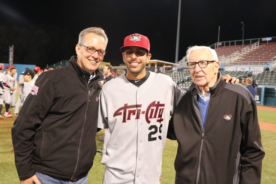 Tri-City ValleyCats owner Bill Gladstone, right, with team president Rick Murphy and 2018 manager Jason Bell.