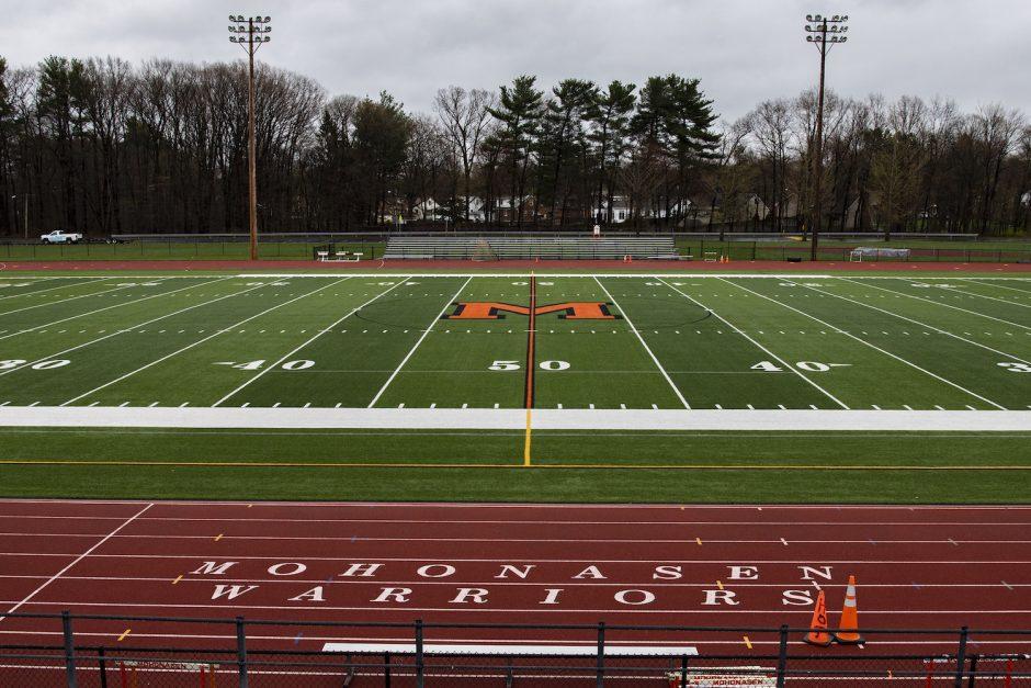 The Mohonasen High School Warriors football field Friday, May 1, 2020.