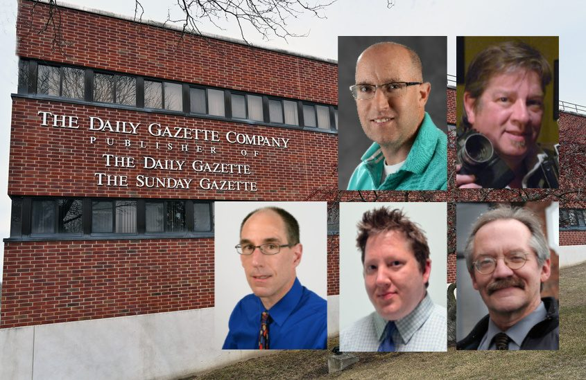 Top: Gazette photographers Peter Barber and Marc Schultz; Bottom: Reporters John Cropley, Pete DeMola and Stephen Williams