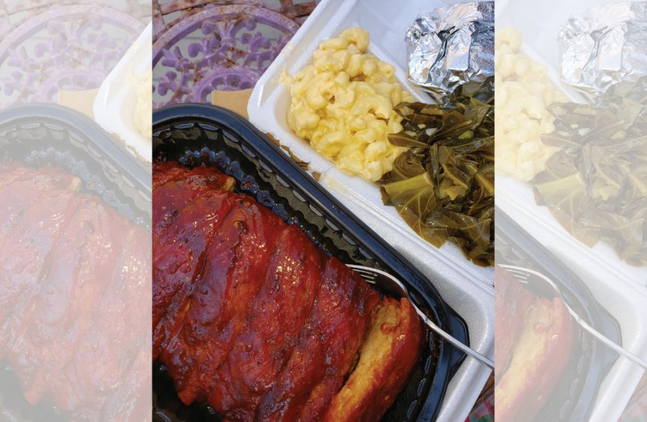 Ribs with macaroni and cheese and collard greens at Backyard BBQ.