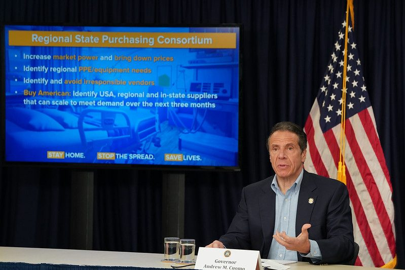 Gov. Andrew Cuomo announces a joint multi-state agreement to develop a regional supply chain Sunday at his daily briefing.