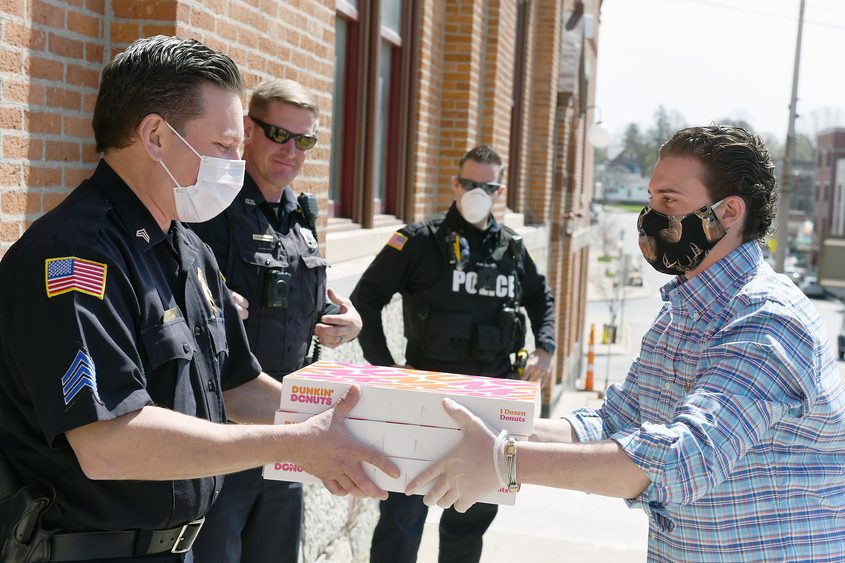 The Saratoga Springs Police Department receives a donation of donuts April 29