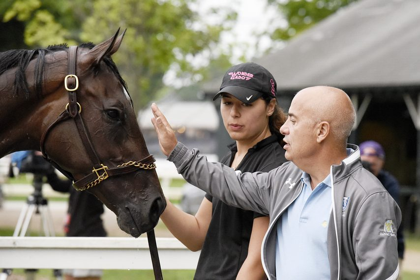 Trainer Mark Casse, right, checks in on Wonder Gadot during the 2018 Saratoga meet.