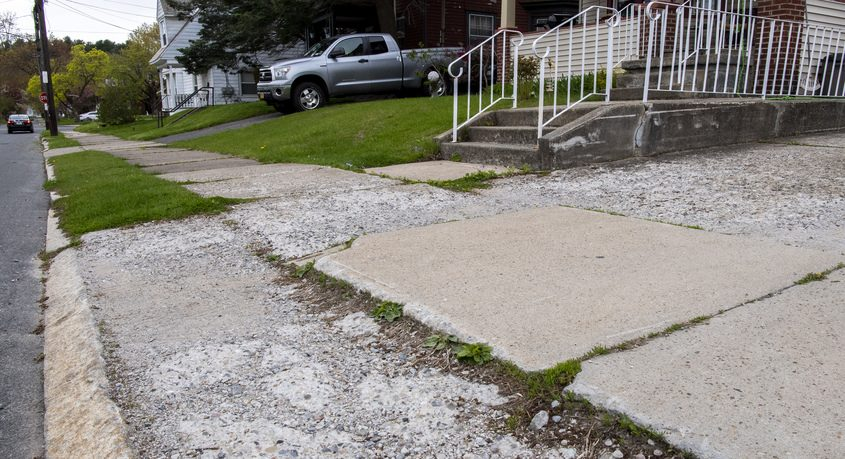 Deteriorating sidewalks on DeCamp Avenue and Union Street in Schenectady Wednesday