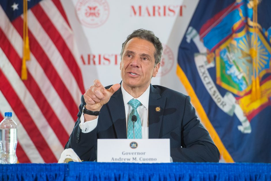 Governor Andrew Cuomo delivers his daily press briefing on COVID-19 on Friday, May 8.
