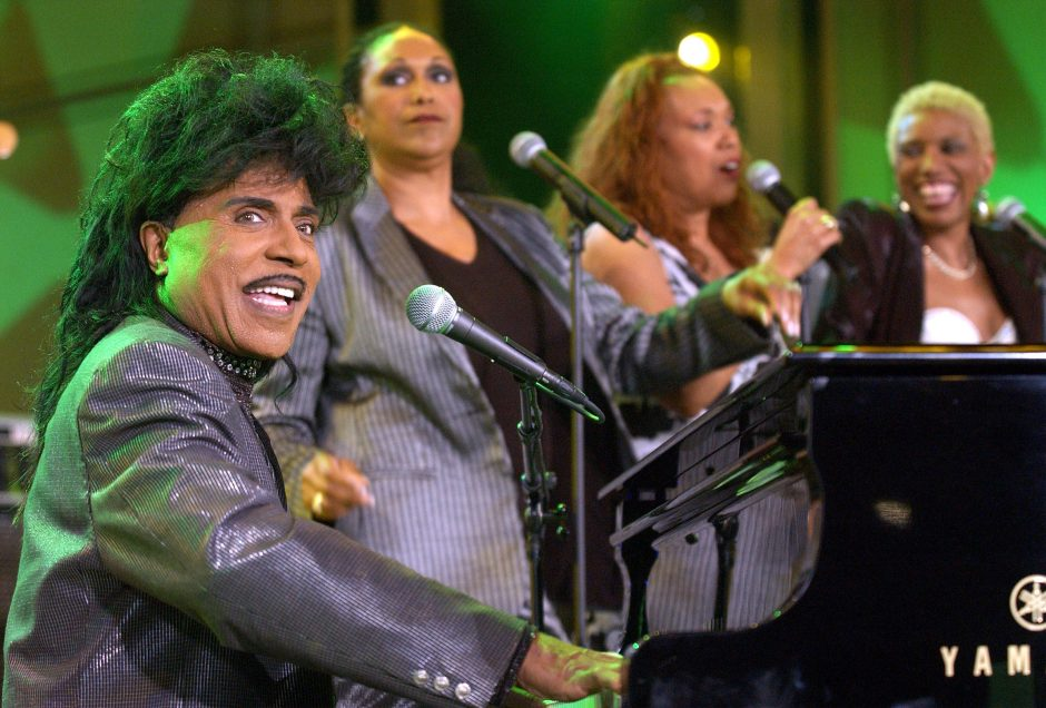 "Little Richard, left, and the Pointer Sisters perform during the taping of ""American Bandstands 50th...A Celebration"" in 2002."