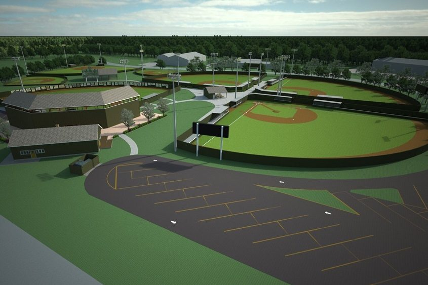 A rendering of the completed set of baseball fields is shown.