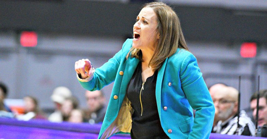 Head coach Colleen Mullen is shown during a UAlbany women's basketball game.