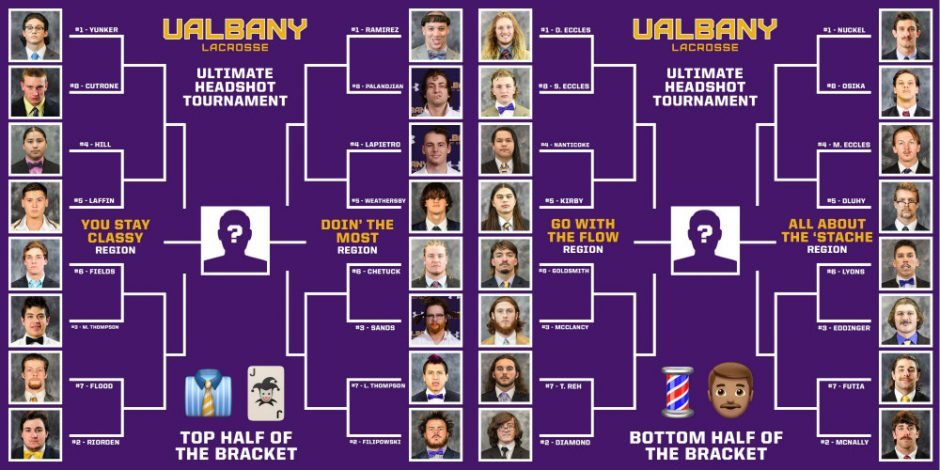 The bracket for the UAlbany men's lacrosse Ultimate Headshot Tournament.