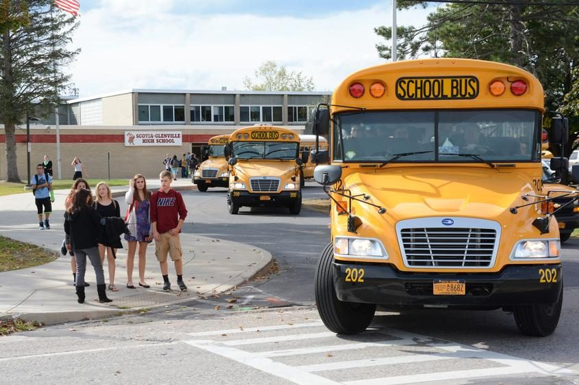 Scotia-Glenville High School students wait to cross Route 147 in 2014.