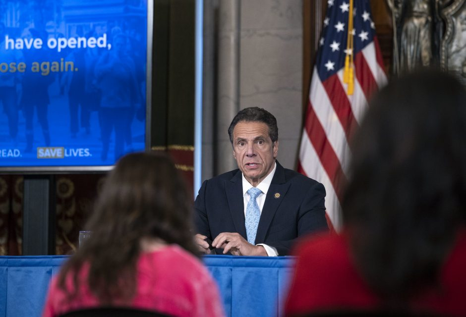 Governor Andrew Cuomo delivers his daily press briefing on COVID-19 Friday, May 15.