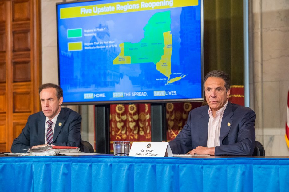 Governor Andrew Cuomo delivers his daily press briefing on COVID-19 Saturday, May 16.