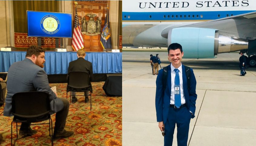 Jake Lahut, left, before a Cuomo coronavirus briefing; Brett Samuels, right, in front of Air Force One