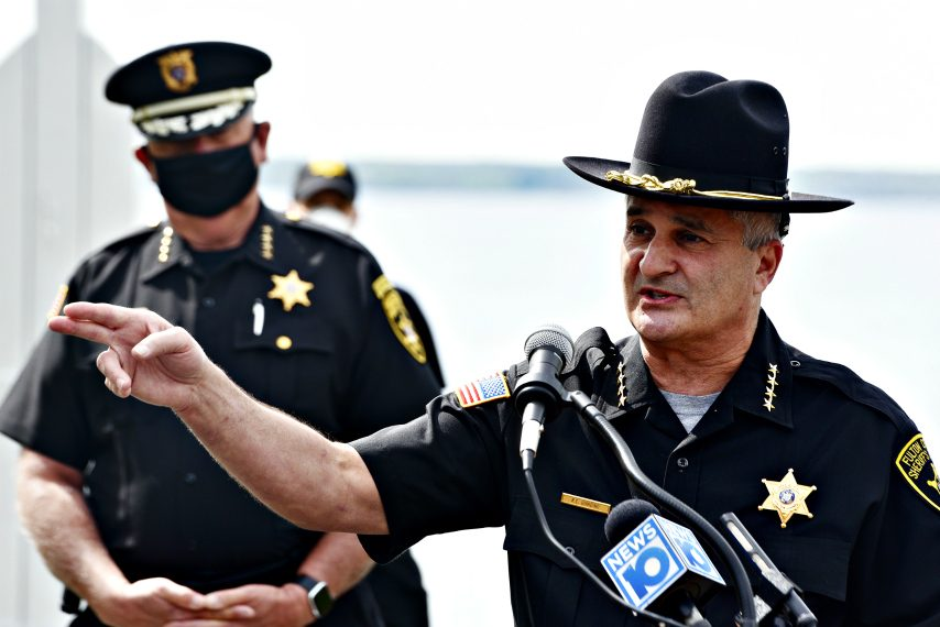Fulton County Sheriff Richard Giardino speaks Tuesday during a news conference about boater safety.