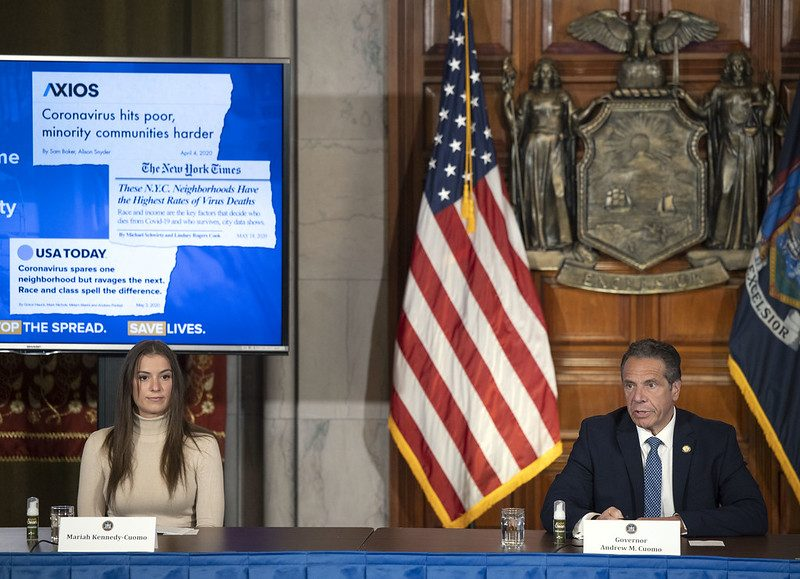 Gov. Andrew Cuomo and daughter Mariah Wednesday at the state Capitol.