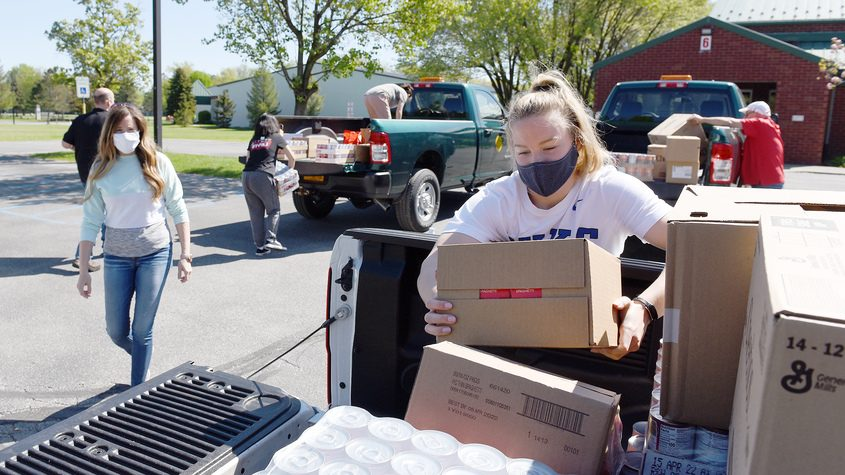 """A """"Drive up, drop off"""" food drive at Clifton Park Senior Community Center in the Commons in Clifton Park on Wednesday"""