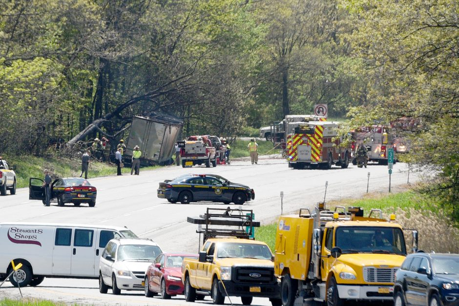 Tractor trailer accident and fire southbound south of exit 16 on I-87 in Wilton on Friday, May 22, 2020.