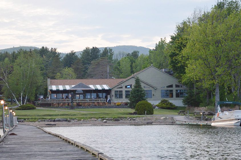 Lanzi's on the Lake is seen from the water at Great Sacandaga Lake.