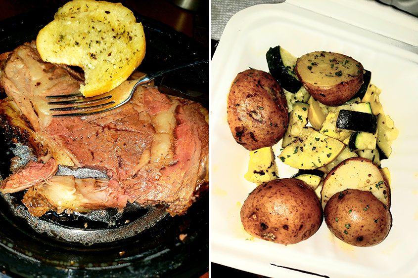 Prime rib and roasted potatoes and summer squash at the 19th Hole at Briar Creek Golf Course.