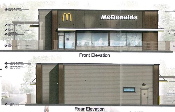 A rendering of the proposed McDonald's restaurant renovation at Union and Dean streets.