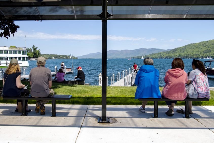 Social distancing is evident on Beach Drive in Lake George Saturday