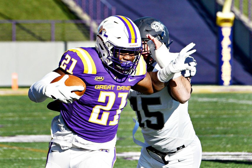 UAlbany's Karl Mofor carries the ball during a 2019 game at Tom & Mary Casey Stadium.