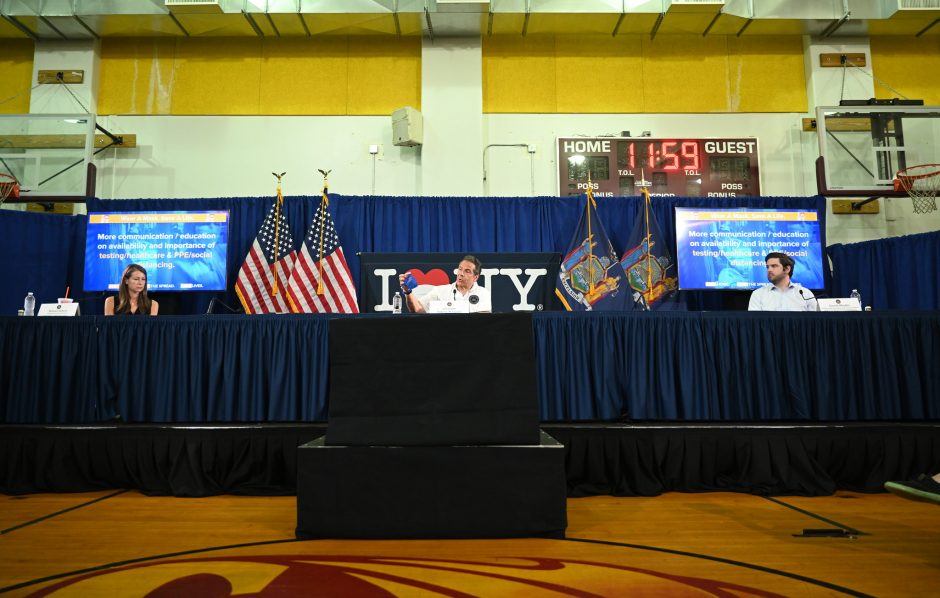Gov. Andrew Cuomo delivers his daily briefing on the coronavirus, at the New York State Capitol, March 28, 2020.
