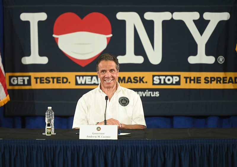 Gov. Andrew Cuomo speaks to the media Thursday in Brooklyn.